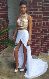 prom dress chiffon slit crystal Australia - 2019 Women Two Pieces Prom Dresses High Neck Gold Beads White Chiffon Slit Hi Lo Party Dress Evening Wear Teens Homecoming Gowns Cheap