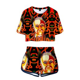 43bae744da759b 2019 Woman Two Piece Keith Flint Women Two Piece Outfits Summer Clothes Hot  Sale Casual Harajuku Shorts+T Shirt Sexy Short Set