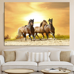 European Running Horses Animal Landscape Painting on Canvas Wall Art Picture Print and Poster Modern Home Decoration Unframed b03