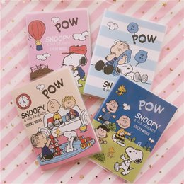 Pages Stationery Australia - SIXONE 45 Pages Snoopy Cartoon Notebook Office Note Paper Cute Student Stationery Diary Rubber Cover Notebook