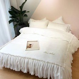 Light pink duvet covers online shopping - Pure Cotton Cream White Pink Bedding Set Luxury Bed set Fitted Bed sheet Duvet Cover queen king size parure de lit couette