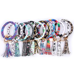 $enCountryForm.capitalKeyWord Australia - Free DHL 14 Colors PU Leather Wristlet keychain 2019 Charm O Key Ring Tassel Bracelet Keychains for Women Jewelry Girls Christmas Gift M222F
