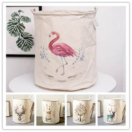 baskets for dirty clothes NZ - Flamingo 50*40cm Dirty Clothes Baskets Cotton Linen Foldable Laundry Basket For Toys Organizer Barrel Groceries Storage Baskets T200415