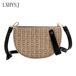 Bohemian Bags Australia - New Hand-woven Half moon type Woman's Shoulder Bag Handbag Bohemian Summer Straw Beach Bags Lady Travel Messenger Crossbody Bag