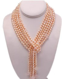 "$enCountryForm.capitalKeyWord UK - exquisite Long Necklace 6x8mm Pink Oval Freshwater Pearl and Rose Quartz Three-Strand for Women 48"" Christmas jewelry"