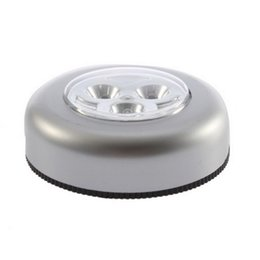 Cabinet Lights Touch Australia - 3 LED Touch Control Night Light Round Lamp Under Cabinet Closet Push Stick On Lamp Home Kitchen Bedroom Automobile Use