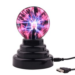 magic glass ball UK - Magic Crystal Plasma Light Ball Electrostatic Induction Balls 3 inch 5W LED Lights USB Power & Battery Party Decoration Children Gift toys