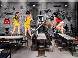 Wholesale custom motorcycles online – design custom size d photo wallpaper livingroom mural hand painted trend beauty motorcycle brick picture backdrop wallpaper non woven wall sticker