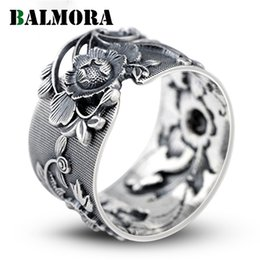 $enCountryForm.capitalKeyWord Australia - Balmora Vintage Flower 999 Pure Silver Open Rings For Women Lover Party Gift Flower Ring Thai Silver Jewelry Accessories Sy21968 J 190515