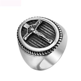 $enCountryForm.capitalKeyWord Australia - New Arrival Christian Jewelry Rings With Jesus crucifix High Quality Titanium Steel Vintga Ring For Men Party Gifts