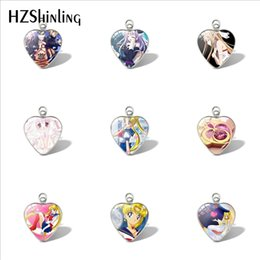 sailor moon charms UK - 2020 New Sailor Moon Heart Pendant Car Ladies Wallet Charms Sailor Moon Pendants Glass Cabochon Jewelry