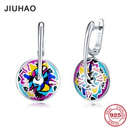 oil painting jewelry Australia - Enamel Earrings For Women 925 Sterling Silver Oil Painting Round Shape Stud Earrings For Women Fashion Handmade Jewelry J190718