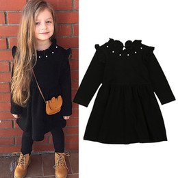 23c28188 Baby Girls Long Sleeve Black Dress Knitted Cotton Pearl Dresses Soild Color Kids  Children Spring Autumn Clothes