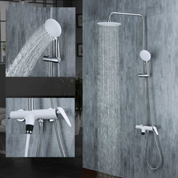 $enCountryForm.capitalKeyWord Australia - Bathroom White Brass Paint Rainfall Shower Faucet Set Rain Shower Head Handheld Sprayer Cold And Hot Mixer Tap Wall Mounted