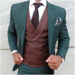 men wedding suits styles Australia - Italy Style Green Men Suits for Wedding Groom Tuxedo Casual Business Man Blazer 3Piece(Coat Pants Vest)Costume Homme Terno Masculino