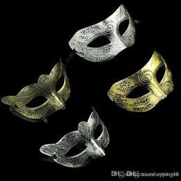 gras half mask UK - Half Face Archaistic Roma Antique Classic Men's Mask Mardi Gras Masquerade Halloween Venetian Costume Party Masks Silver & Gold t152
