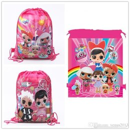 Wholesale Cartoon Storage Bags For Birthday Party Favor Girls LOL Doll Gift Bag Drawstring Backpack Kids Toys Receive Package Swimming Beach Bag