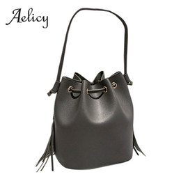 British Bags Wholesale Australia - Aelicy British style Retro PU Leather Large Bucket Tote Bag Women Solid Drawstring Shoulder Bag Ladies Handbag Crossbody