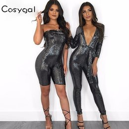 COSYGAL Sexy Women Romper Kylie Jenner s 21st Birthday Party Playsuits  Fashion 2018 strapless Sequin Club Jumpsuit Overalls 963dbe2301f1