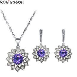 Discount purple zircon necklace - 925 Silver Purple Zircon Earrings Necklace Pendant Jewelry Set Fashion Classic Business Gift JS833