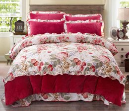 Discount bedding side - Fleece Bedding Set AB Side Floral Duvet Cover Set Soft Warm Bedcloth 4 Pcs Bedding Set