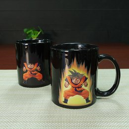 heat reactive mug NZ - Preference Dragon Ball Color Change Ceramic Mug Goku Cartoon Novelty Heat Reactive Coffee Cup Colored Changing Magic Cups