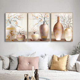 flower vase paintings canvas 2019 - Laeacco Canvas Painting Calligraphy Nordic Flower Posters and Prints Cartoon Vase Wall Art Pictures For Living Room Deco