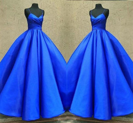 Cupcakes For Weddings Australia - Royal Blue Satin Ball Gown Wedding Dresses Pleats Ruched Spaghetti V-neck Cupcake Party Dress For Bride Bridal Gowns Women vestidos de