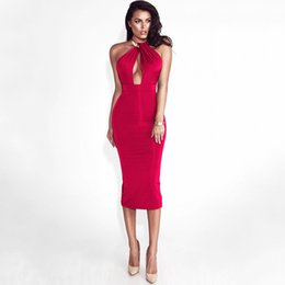 Discount tight green dresses - Womens Dresses 2019 Summer New Sexy Metal Halter Dress Sexy V Neck Bag Hip Skirt Tight Solid Color Dress 5 Colors