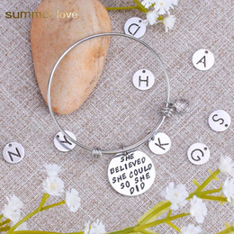 $enCountryForm.capitalKeyWord Australia - High Quality Stainless Steel Inspirational 26 Intial Letter Birthday Pendant Charm Bracelet for Women Men 60mm Expandable Wire Bangle