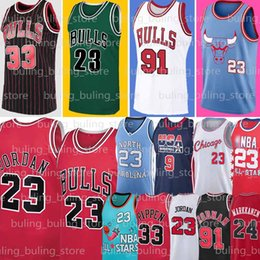 NCAA 23 Michael MJ Chicago Bulls 91 Dennis Rodman Jersey 33 Scottie Pippen Caroline du Nord Tar Heels Lauri Throwback Markkanen Zach 8 LaVine en Solde