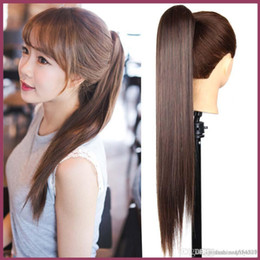 China New Hot SALE Womens Girls Cute Hair Long Curly Wavy Ponytail Piece Wrap Around Clip in Pony Tail Hair Black Brown Wig supplier hair wrap around suppliers