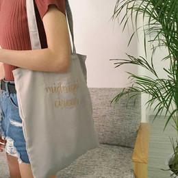 Silk Handbags Australia - Silk Retro Shoulder Bag Letter Embroidery Big Hand Bags Handbags For Student Women Ladies Fashion Simple Shopping Shopper Bag