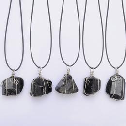 Pendants Strings Australia - dhgate Black Tourmaline Stone Necklace Wax Rope Handmade Winding Jewelry Ethnic Vintage Stone Pendant Necklace for Women 2018
