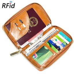 Pvc Long Zipper NZ - Large Capacity Passport Ticket Passport Top Cow Leather RFID Zipper Multi-function Men And Womens Wallets Ultra-thin Travel Bag