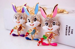 $enCountryForm.capitalKeyWord Australia - Bling Bling Crystal Rhinestone Cartoon rabbit Keychain Metal Keychain Keyring Car Keychains Purse Handbag Pendant rabbit Metal keychain