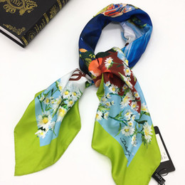 Discount flower wrapping materials - Brand new design women's square scarf 100% twill silk material high quality print flowers letters pattern size 110c