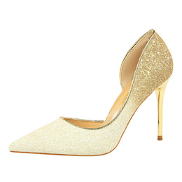 Wholesale New Night Club Style Lady Sexy Party Shoes Gradient Glitter Design Women Pointed Toe Side Open Stiletto Heel Shoes Women Pumps Summer