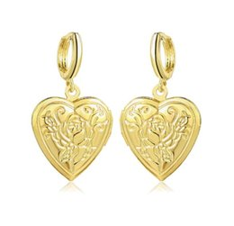 photo plate wholesale UK - 2019 Hot sales Rose love heart Phase box Earrings open Can put photo Earrings Golden silvery woman Madam Fashion accessories