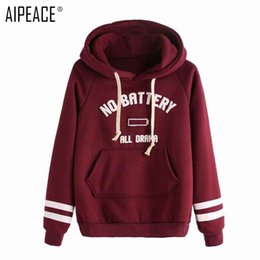 coating battery NZ - AIPEACE NO BATTERY Print Women Hoodies Spring Loose Sweatshirt Femme Red Pullovers Top Casual Women Coat