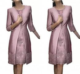 $enCountryForm.capitalKeyWord NZ - Elegant 2018 Mother of The Bride Evening Dresses with Long Jacket Sheath Knee Length Dusty Purple Siver Grey Santin and Lace Wedding Dresses