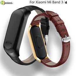 $enCountryForm.capitalKeyWord Australia - Leather Strap For Xiaomi Mi Band 3 Smart Band Wristband Strap Accessories For Xiaomi Mi 4 bracelet sport+Metal Case Cover