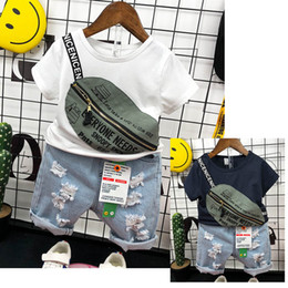 $enCountryForm.capitalKeyWord NZ - Boys suits kids sets kids designer clothes boys clothing sets summer fashion bag t shirts+ hole Jeans shorts kids outfits boy clothes A5743