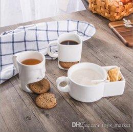 3 Stili Tazza in ceramica Biscotti caffè Latte Dessert Tazza Tazze da tè Bottom Storage per biscotti Biscotti Tasche Holder per Home Office in Offerta