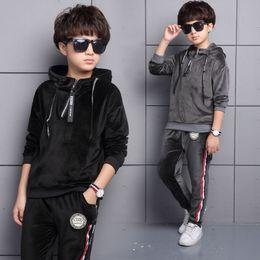 TwinseT sporT online shopping - 2017 New Autumn boys Sports Suit Velet Children Clothing Sets Baby Kids Sportswear Big boys Coat Pants Twinset Suits