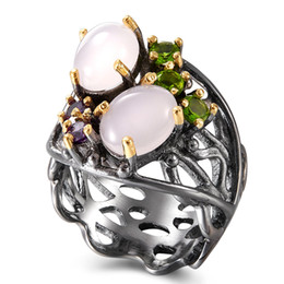 opal set jewellery Australia - Hollow design Oval Pink Opal stone Ring Trendy Gun Black Jewellery Top quality Fast delivery Women Brass Jewelry rings