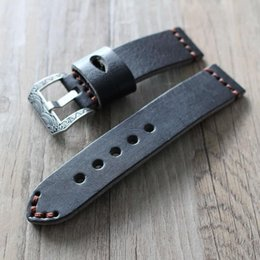 pam band strap UK - Black Carved Buckle Strap 20 22 24MM Watchband Men Strap Watch for PAM Watch Handmade Genuine Leather band