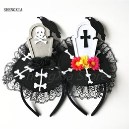 fancy crosses wholesale Australia - Halloween Ghost Festival Tombstone Atmosphere headband Fancy Dress Party Party Horror Decoration Props The cross Lace Hair Accessories