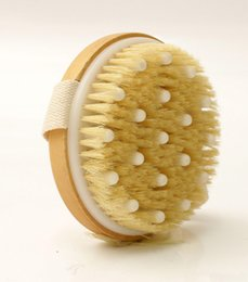 wholesale natural body brush NZ - New Style Hot Dry Skin Body Soft natural bristle the SPA the Brush Wooden Bath Shower Bristle Brush SPA Body Brush without Handle