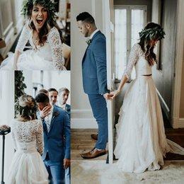$enCountryForm.capitalKeyWord Australia - Two Pieces Beach Country Wedding Dresses with Long Sleeve 2019 Chiffon Ruffles Lace Top Boho Holiday Farm Bridal Reception Dress